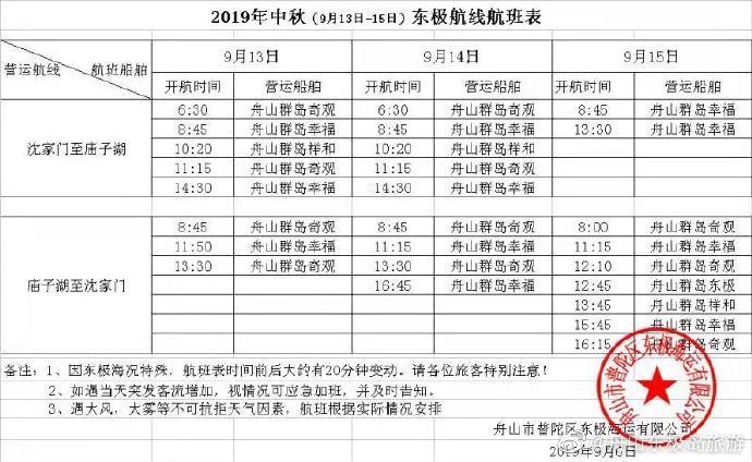 2019年中秋节东极岛旅游航班船期信息已发布
